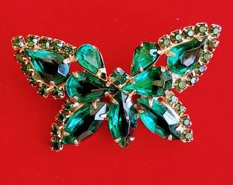 Vintage Green Rhinestone Butterfly Brooch, Emerald Green Rhinestone Figural Brooch, Butterfly Pin