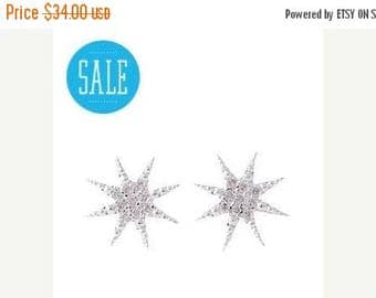 75% off Sale tiny crystal STAR earrings, Cosmic lunar gift, starburst, star jewelry, Humane Society donation
