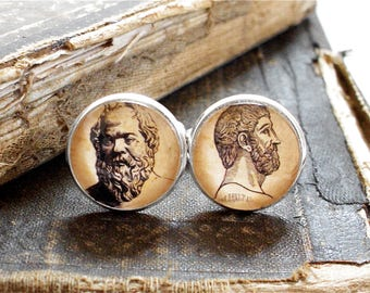 Philosophy Cufflinks - Plato and Socrates Cuff Links in Silver