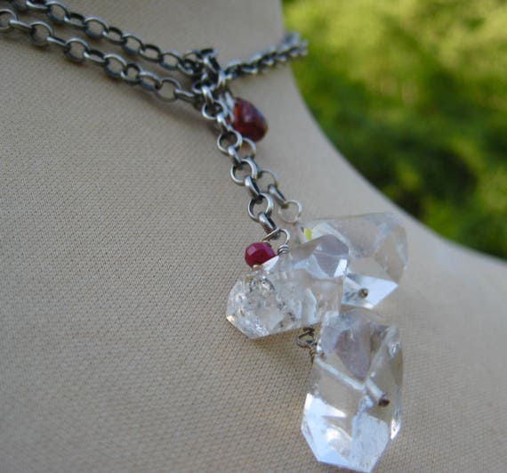 HAIMA Sterling Silver Link Chain Lariat with 18 mm Herkimer Diamond Trio