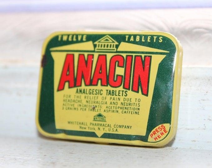 Vintage Medicine Tin Anacin Bathroom Decor