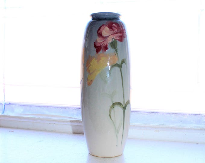 Weller Pottery Vase Eocean Red and Yellow Carnations Vintage 1930s