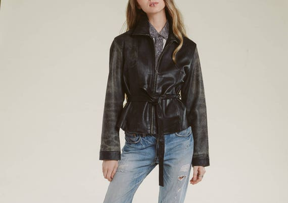 90s distressed leather tie jacket