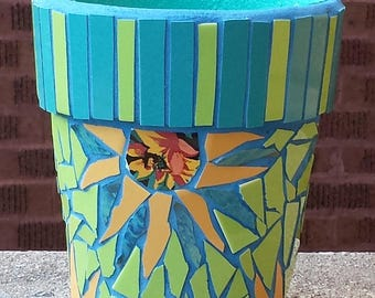 MOSAIC FLOWER POT Yellow Turquoise Sunflowers