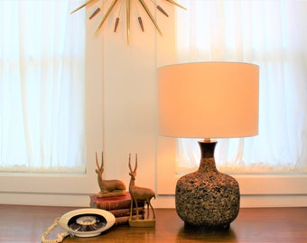 Mid Century Modern vintage, cork lamp with wood accents