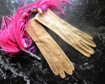 Soft Kid Leather Antique French Button Victorian Gloves. Little Lady.  Movie Prop, Display