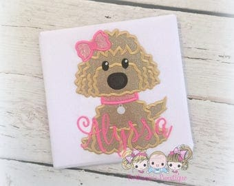 Personalized puppy shirt for girls - little girl puppy dog shirt - goldendoodle shirt - puppy themed shirt - monogrammed shirt with puppy