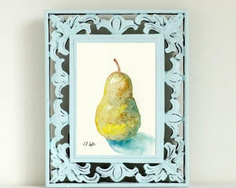 Watercolor Pear Painting, yellow pear, 5x7, kitchen decor, original watercolor painting, fruit painting, watercolor fruit, pear fine art