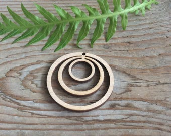 Set of 10 wood blanks / wooden circle cut outs / linked circles / plywood jewelry supplies