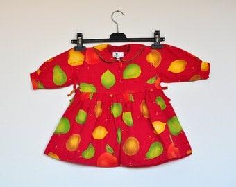 Vintage Fruits Print Toddler Dress With Peter Pan Collar Little Girls Summer Play Dress