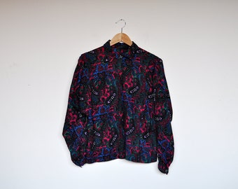 Vintage Yewell Tones Paisley Print Oversized Pleated Button Up Blouse