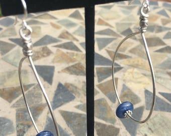 Kyanite sterling hoops