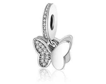Sterling silver pandora charm with aaa cz