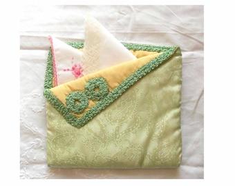 Vintage silk padded handkerchief case 1930s. Nylons case
