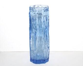 Ravenhead blue bark vase. Mid/sky blue. Whitefriars style. Bark pattern vase