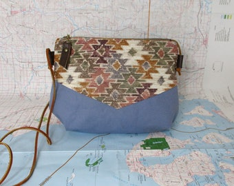 Mesa. Crossbody purse - Summer purse - Small canvas bag - Cross over - Every day purse- Southwestern - Tribal - Blue - Pastel -Ready to ship