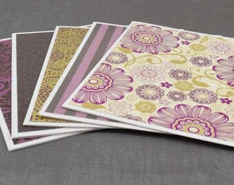 Gold Foil Cards, Flower Cards, Pack of Greeting Cards, Assorted Cards, Set of Cards, Blank Greeting Cards, Stationery Cards, Blank Cards