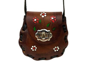 Vintage Mexican Tooled Leather Mini Purse // Girls Child Size Small Cross Body Shoulder Bag Red & White Painted Flowers Boho Hippie Festival