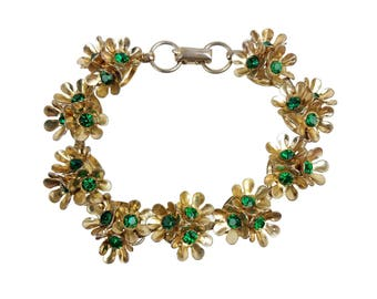 Vintage Coro Green Rhinestone Gold-tone Flower Cluster Link Bracelet // Mid-Century Signed Designer Costume Jewelry // Spring Floral Daisy