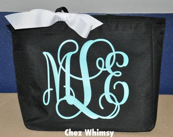 Monogrammed Tote, Personalized Tote Bag, Monogram Totes, Large Design Tote, Glitter Monogram, Bridesmaid Gift, Tote with Bow, Teacher Gift