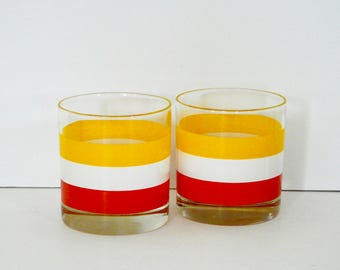 Georges Briard Style Stripe Low Ball Glasses