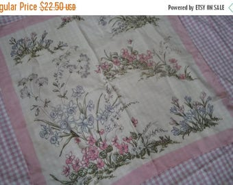 STARTSUMMERSALE Pretty Pink Floral Garden Scarf/Vintage C. 1960s/Large Square Silky Scarf