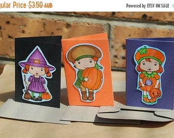 Pack of Three Little Halloween Cards Witch Marci Pumpkin Marci Luka with a Pumpkin