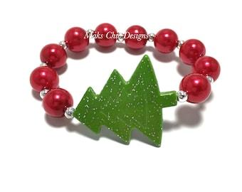 SALE Christmas Tree Small Beaded Bracelets - Red and Green Beaded Bracelet - Santa Bracelets - Christmas Goodie Bags -  Christmas Birthday