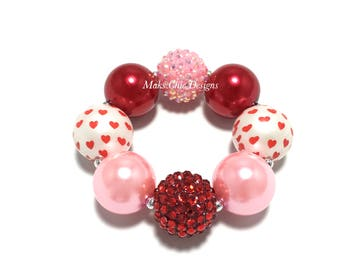 Toddler or Girls Pink and Red Heart Valentine's Day Chunky Bracelet - Heart chunky bracelet - Girls Love bracelet - Valentines day jewelry