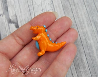 Cute Baby Dinosaur - Sculpted Lampwork Bead Focal, Yellow and turquoise