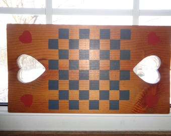 Vintage Hand Made Checker/Chess Board with stenciled board and cutout hearts in Good Vintage Condition with  Americana Folk Art Style