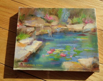 "Original Oil Painting on Stretched Canvas signed by The Artist Frankie Johnson titled ""Lilly Pond"" in Very Good Condition without a frame"