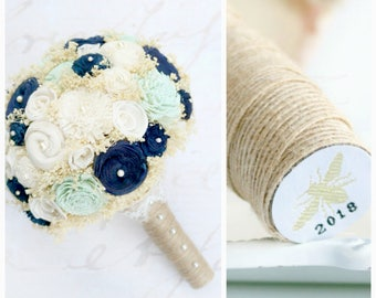 Wedding Bouquet Mint + Navy // Wedding Flowers Bride Bridal Bouquet Dried Flowers Lace Sola Wood Flower Shabby Chic Farmhouse Rustic