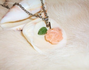 Coral Carved Rose Necklace Pendent  Angel Skin Pink Dainty Silver Free shippimg im USA