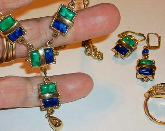 Sarah Coventry DECO Necklace Set with Ring Made in GB 1973 Green and Blue faux Malachite and Lapis  Free Shipping in USA