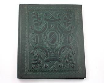 Vintage 1950s dark green photo album, photographs, scrapbook, sketchbook, black pages, leather like, portrait photo book, 16 hole binding