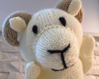 Hand knit ram puppet, hand puppet ram, ram glove puppet, knit puppet ram, plush ram puppet, ram plush toy, puppet ram plush, ram toy puppet