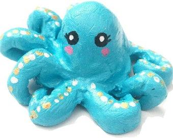 Kawaii Octopus sculpture, totem, tiny sculpture