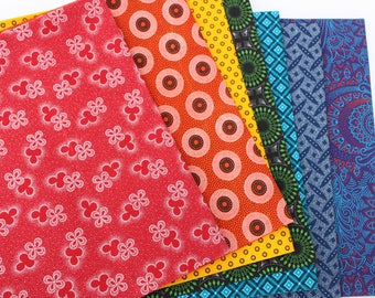 Shweshwe Fabric, Fat Quarter Bundle, South African Fabric, Gift for Quilters,  ROYGBIV 100% cotton, Three Cats  fabric, Rainbow Colors