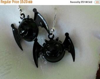 Etsy On Sale Bells in the Bat-free, Bat Earrings, Black Enamel Metal Bat Bells, Cute Spooky Smiling Faces, Silver Metal Earwires, 1inch x .7