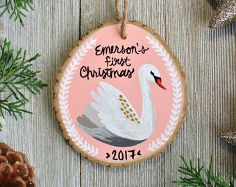 Baby First Christmas Ornament, Personalized Ornament Baby, White Swan Ornament, Personalized Baby Girl Ornament,  Christmas Gift for Newborn