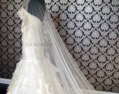 AS72 Silk Tulle Drop Veil with Lace