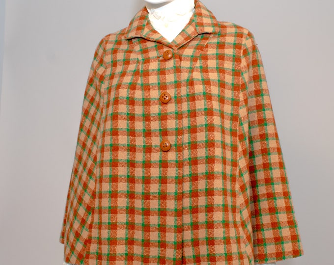 Vintage 50s 1950s Plaid Wool Tweed Tartan Rust Green and Butterscotch Cape Cute Buttons One Size