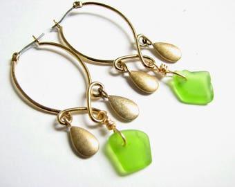 Chandelier Sea Glass Earrings, Gold Seaglass Jewelry, Green Ocean Glass Earring, Chandelier Hoops