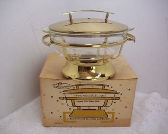 Retro Serv-Master Fire King 2 Quart Covered Casserole And Warmer Stand