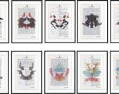 6 Prints ! Doctor Psychology Psychiatry Hermann Rorschach Inkblot Test Freud Gift Mental Health Dictionary Vintage Upcycled Book Wall Art