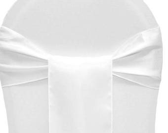 50 Chair Sashes White Satin   Wedding Chair Sashes,  Chair Bows , Satin Pew Bows , Party Bows Event