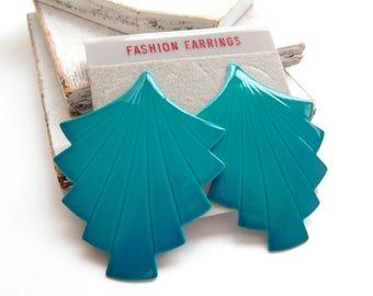 Vintage Retro 80s Teal Turquoise Blue Asian Fan Design Dangle Earrings