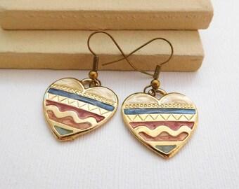Retro Vintage Multi-Color Enamel Primitive Country Gold Heart Earrings PP15