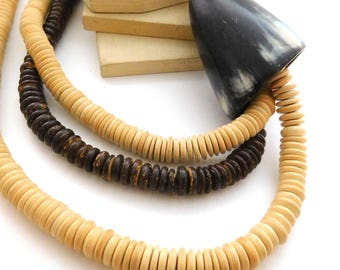 Vintage Boho Tribal Genuine Horn & Coconut Bead Statement Necklace M33